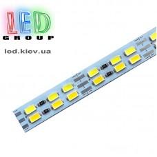 Светодиодная алюминиевая линейка 12V, 5730, 144 led/m, 23W, IP20, 3000K - белый тёплый, Standart. Гарантия - 12 месяцев.