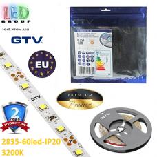 Светодиодная лента GTV, SMD 2835, 60 led/m, 6W/m, 3200K, IP20, Premium. ПОЛЬША!!! Гарантия - 2 года