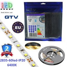 Светодиодная лента GTV, 12V, 2835, 60 led/m, 6W, IP20, 750Lm, 6400K - белый холодный, Premium. Гарантия - 24 месяца.