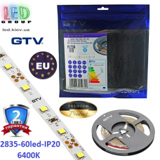 Светодиодная лента GTV, SMD 2835, 60 led/m, 6W/m, 6500K, IP20, Premium. ПОЛЬША!!! Гарантия - 2 года