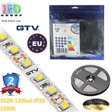 Светодиодная лента GTV, 12V, SMD 2835, 120 led/m, 9.6W, IP20, 550Lm, 3200K - белый тёплый, Premium. Гарантия - 24