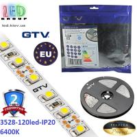Светодиодная лента GTV, SMD 3528, 120 led/m, 9.6W/m, 6500K, IP20, Premium. ПОЛЬША!!! Гарантия - 2 года