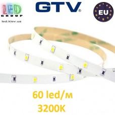 Светодиодная лента GTV, 12V, 2835, 60 led/m, 4.8W, IP20, 300Lm, 3200K - белый тёплый, Econom. Гарантия - 6 месяцев.