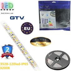 Светодиодная лента GTV, 12V, 3528, 120 led/m, 9.6W, IP65, 550Lm, 3200K - белый тёплый, Premium. Гарантия - 24 месяца.