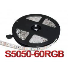 Светодиодная лента 12V, 5050, 60 led/m, 14.4W, IP20, RGB (16 млн. оттенков), Standart. Гарантия - 12 месяцев.