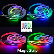 Светодиодная лента RGB управляемая WS2812, 5V, 5050, 144 led/m, 29.5W, IP20, Magic Strip. Гарантия - 12 месяцев