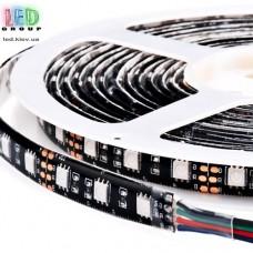 Светодиодная лента 12V, 5050, 60 led/m, 14.4W, IP20, RGB (16 млн. оттенков), black, Standart. Гарантия - 12 месяцев.