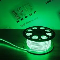 Светодиодная лента 220V, 2835, 120 led/m, 8W, IP67, зелёный, Standart. Гарантия - 12 месяцев.