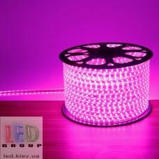 Светодиодная лента 220V, 2835, 120 led/m, 8W, IP67, розовый, Standart. Гарантия - 12 месяцев.