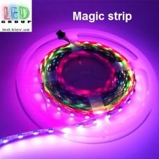 Светодиодная лента RGB управляемая WS2812, 5V, 5050, 60 led/m, 14.4W, IP20, Magic Strip. Гарантия - 12 месяцев