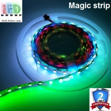 Светодиодная лента RGB управляемая WS2811, 12V, 5050, 54 led/m, 13W, IP20, Magic Strip. Гарантия - 24 месяца