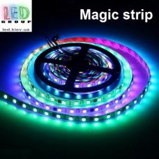 Светодиодная лента RGB управляемая WS2811, 12V, 5050, 60 led/m, 14.4W, IP20, Magic Strip. Гарантия - 12 месяцев