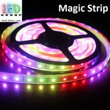 Светодиодная лента RGB управляемая WS2811,12V, 5050, 60 led/m, 14.4W, IP67, Magic Strip. Гарантия - 12 месяцев