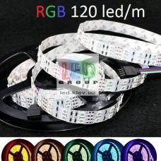 Светодиодная лента 12V, 5050, 120 led/m, 24W, IP20, RGB (16 млн. оттенков), Standart. Гарантия - 12 месяцев.