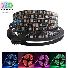 Светодиодная лента 12V, 5050, 60 led/m, 14.4W, IP65, RGB (16 млн. оттенков), black, Standart. Гарантия - 12 месяцев.