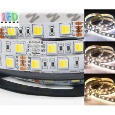 Светодиодная лента 12V, SMART 5050, 2в1, 60 led/m, 14.4W, IP20, WW⇄CW (Белый 3000K⇄6500К), Standart. Гарантия - 12 месяцев.