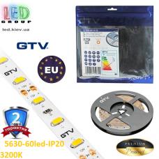 Светодиодная лента GTV, SMD 5630, 60 led/m, 16W/m, 3200K, IP20, Premium. ПОЛЬША!!! Гарантия - 2 года