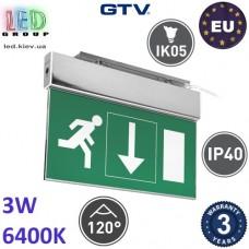 Аварийный светодиодный LED светильник GTV, 3W, 6400K, 250Lm, аккумулятор - на 3 часа, алюминий + PC, Ra≥80, SALED. ЕВРОПА!