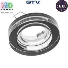 Светильник/корпус GTV, потолочный, встраиваемый, стекло, IP20, круглый, чёрный, PALACE. ПОЛЬША!!!