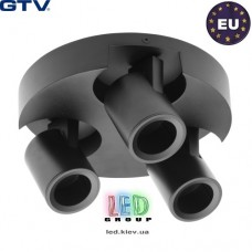 Светильник/корпус GTV, потолочный, регулируемый, алюминий, IP20, круглый, тройной, чёрный, BLINK. ПОЛЬША!!!