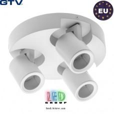 Светильник/корпус GTV, потолочный, регулируемый, алюминий, IP20, круглый, тройной, белый, BLINK. ПОЛЬША!!!