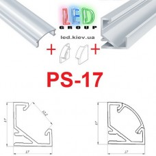 Комплект светодиодный профиль угловой, рассеиватель и заглушки PS-17