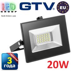Светодиодный LED прожектор, GTV, 20W, IP65, 6400K, FLUXO. ПОЛЬША!!! Гарантия – 3 года