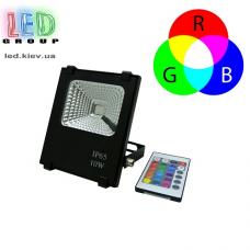 Светодиодный LED прожектор 10W, RGB, с пультом