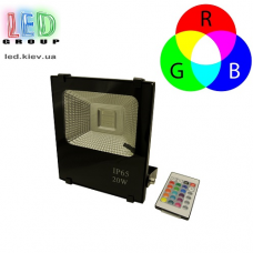 Светодиодный LED прожектор 20W, RGB с пультом. 180х155х47мм