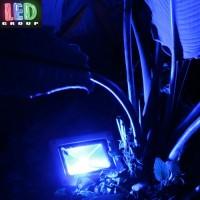 Светодиодный LED прожектор 10W, цвет свечения - синий. Гарантия - 2 года.