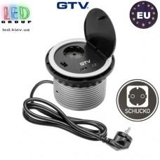 Удлинитель GTV, встраиваемый, 1 гнездо, 2 USB х 2А 5V, провод 1.5 м, серебристый, SCHUKO. ПОЛЬША!!! Гарантия - 1 год