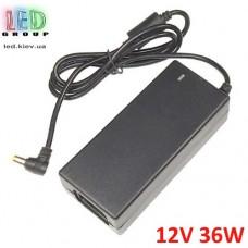 Блок питания 12V, 36W, 3А, пластиковый корпус, IP20, не герметичный, для внутреннего применения