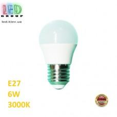 Cветодиодная LED лампа 6W, E27, G45, 3000К - тёплое свечение