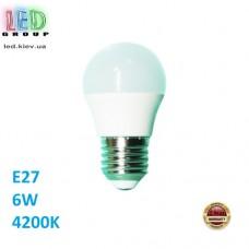 Cветодиодная LED лампа 6W, E27, G45, 4200К - нейтральное свечение