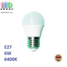 Светодиодная LED лампа 6W, E27, G45, 6400К - холодное свечение