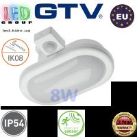 Светодиодный LED светильник GTV с датчиком движения, 8W, 4000K, OVALIO. ЕВРОПА!!! Гарантия - 2 года