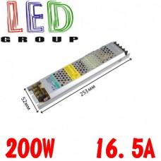 Блок питания 200W, 16.5A, 12V, металлический корпус, IP20, не герметичный, для внутреннего применения. Long Гарантия 2 года!