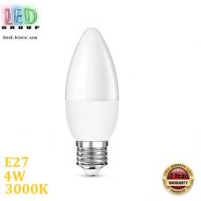 Светодиодная LED лампа, 4W, E27, С37, 3000К – тёплое свечение, RА≥80