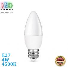 Светодиодная LED лампа, 4W, E27, С37, 4500К – нейтральное свечение, RА≥80
