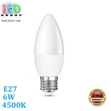 Светодиодная LED лампа, 6W, E27, C37, 4500К – нейтральное свечение, RА≥80