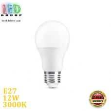Светодиодная LED лампа, 12W, E27, A60, 3000К – тёплое свечение, RА≥80
