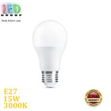 Светодиодная LED лампа, 15W, E27, A65, 3000К – тёплое свечение, Ra≥80