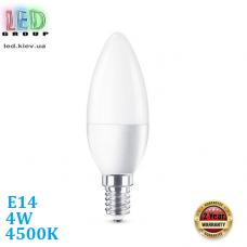 Светодиодная LED лампа, 4W, E14, C37, 4500К – нейтральное свечение, RА>80