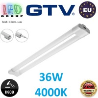 Светодиодный LED светильник GTV, 36W (EMC+), 4000К, 2x1200мм, IP20, накладной, VELA. ЕВРОПА!!!