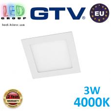 Светодиодный светильник GTV, 3W, 4000К, квадратный, встраиваемый, MATIS. ЕВРОПА!!! Гарантия - 2 года!