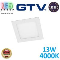 Светодиодный LED светильник потолочный GTV, 13W, 4000К, квадратный, врезной, алюминий, белый, Ra≥80, MATIS. ЕВРОПА!!! Гарантия - 2 года!