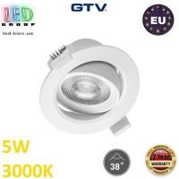Светодиодный светильник GTV, 5W (ЕМС +), 3000К, круглый, встраиваемый, VOLARE. ЕВРОПА!!! Гарантия - 2 года