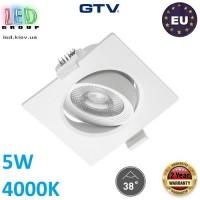 Светодиодный светильник GTV, 5W (ЕМС +), 4000К, квадратный, встраиваемый, VOLARE. ЕВРОПА!!! Гарантия - 2 года