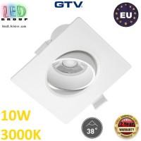Светодиодный светильник GTV, 10W (EMC+), 3000К, квадратный, встраиваемый, VOLARE. ЕВРОПА!!! Гарантия - 2 года