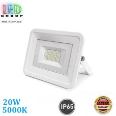 Светодиодный LED прожектор, 20W, 5000K, IP65, алюминиевый, накладной, белый, RA≥75